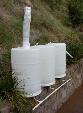 homemade collect rainwater in barrel