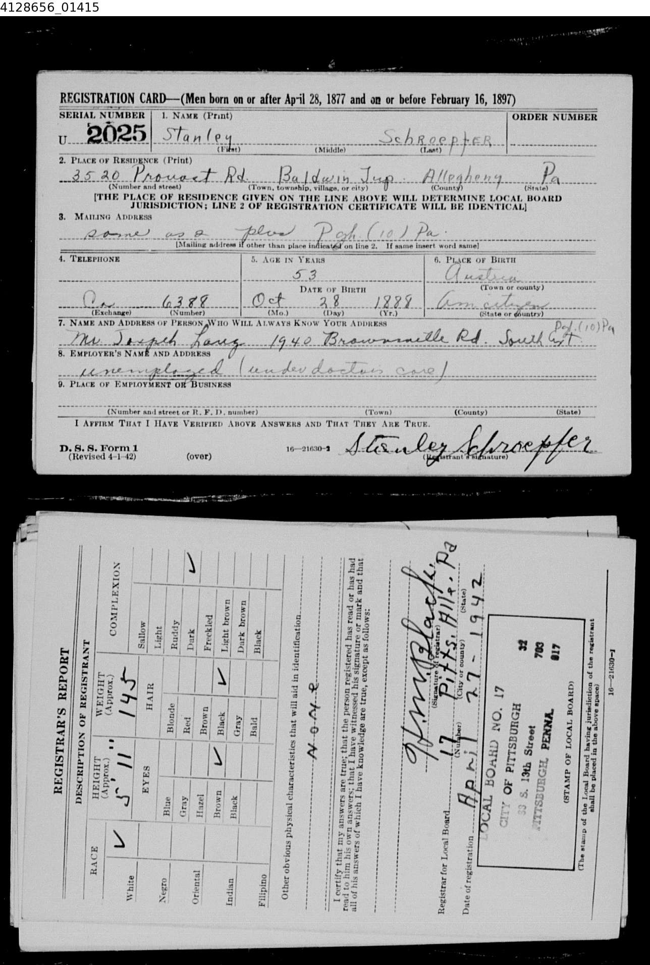 stanley schroepfer world war II registration